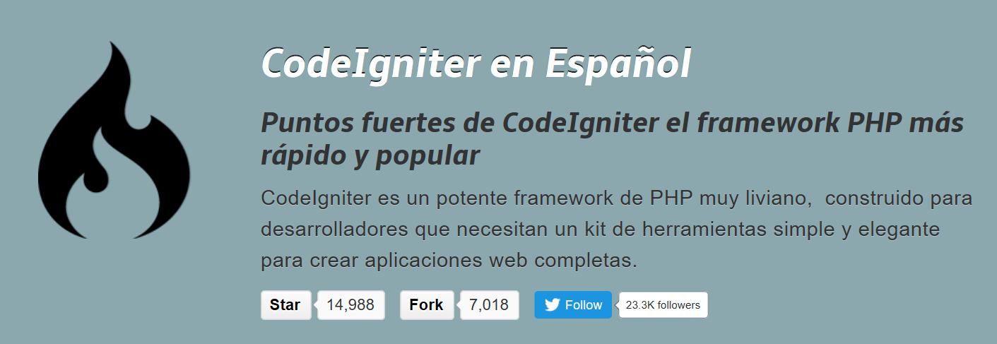 Frameworks php: La página de inicio de CodeIgniter.