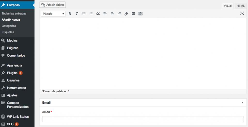 Tu nuevo campo personalizado debajo del editor de WordPress.