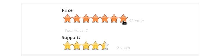 Un sistema de puntuación por estrellas.