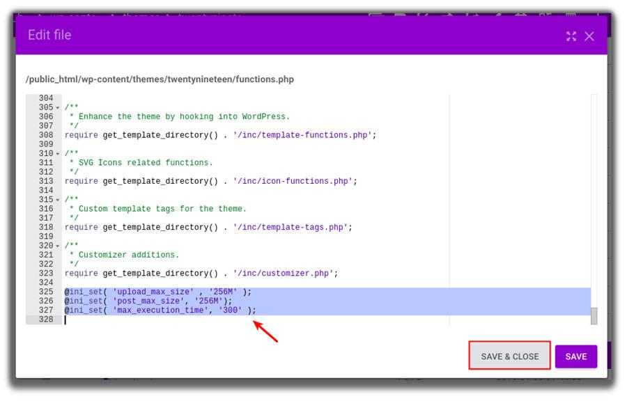 Funciones de edición de archivos PHP para establecer el tamaño máximo de carga