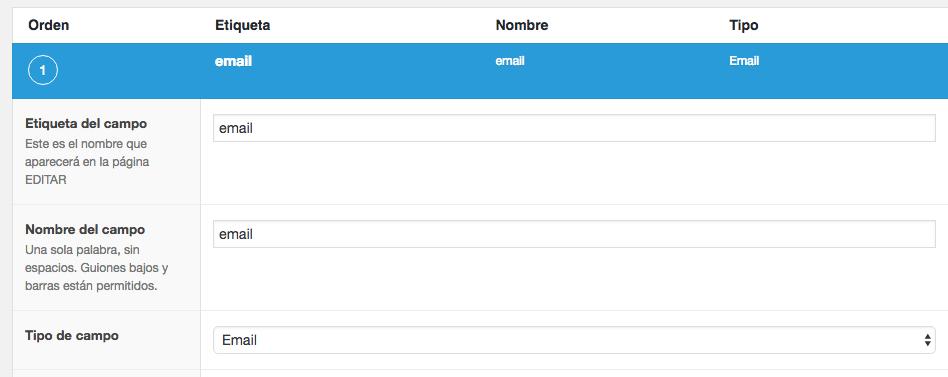 Configuración de un campo de Email.