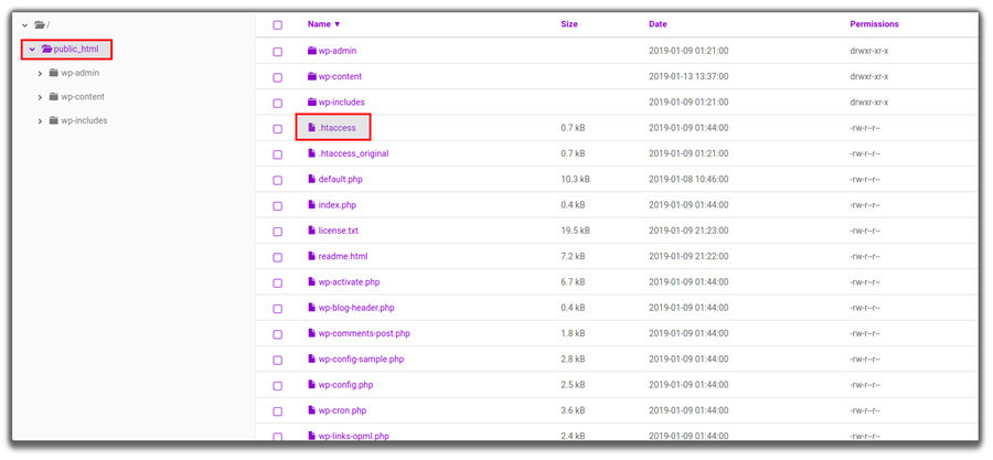 Localización del archivo Htaccess en el panel de control de Hostinger