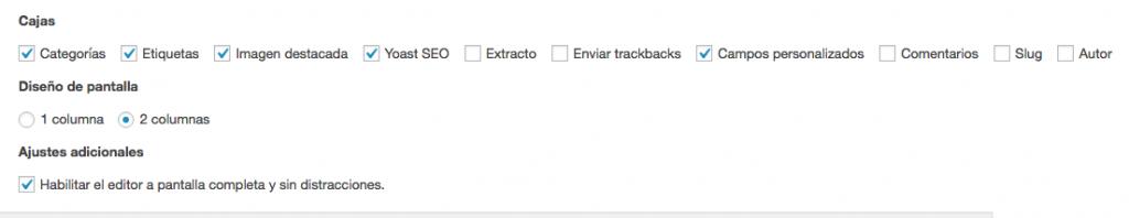 Opciones de pantalla del editor de WordPress.