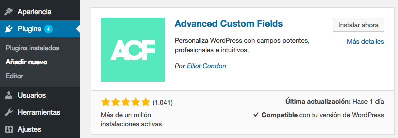 Instalación del plugin Advanced Custom Fields.