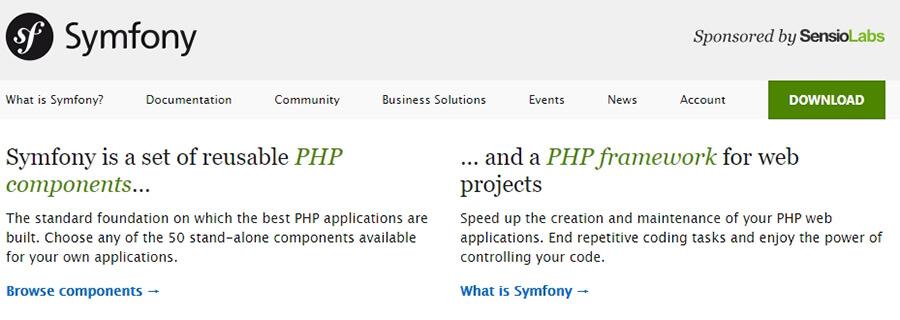 La página de inicio de Symfony.