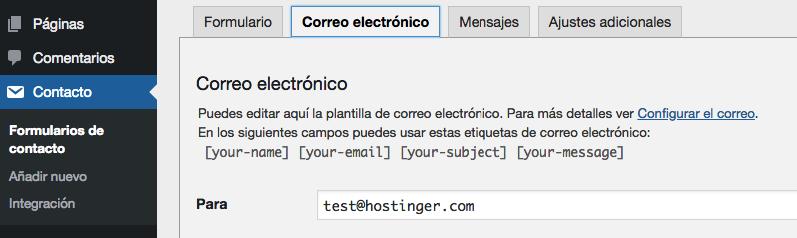 Configurar qué correo electrónico recibirá los mensajes enviados desde tu sitio.