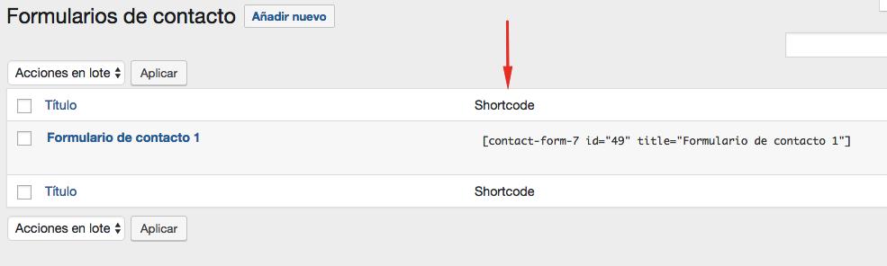 Localizando el shortcode para su nuevo formulario de contacto.
