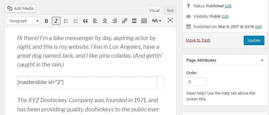Añadiendo el shortcode dentro del editor.