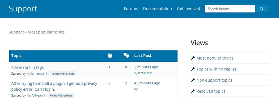 El foro de soporte de WordPress.org.