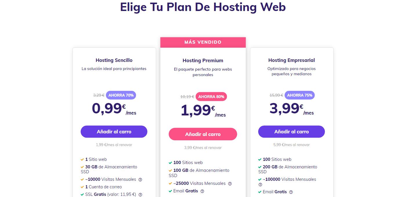 Planes de hosting compartido en Hostinger