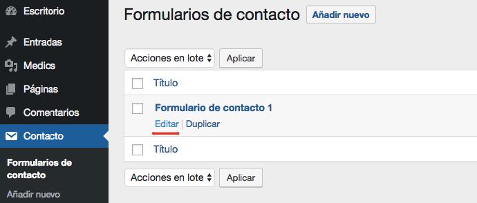 Una lista de los formularios de contacto existentes.