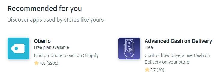 Revisando algunas de las aplicaciones de Shopify.
