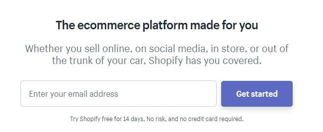 La página de inicio de Shopify.