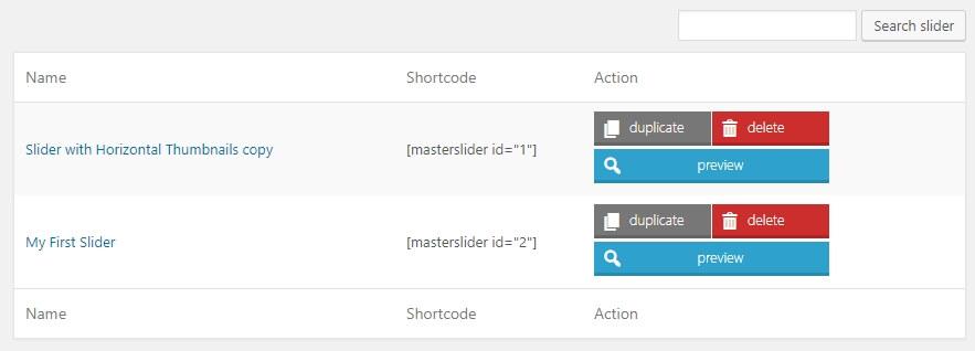 Encontrar el código abreviado de tu slider.