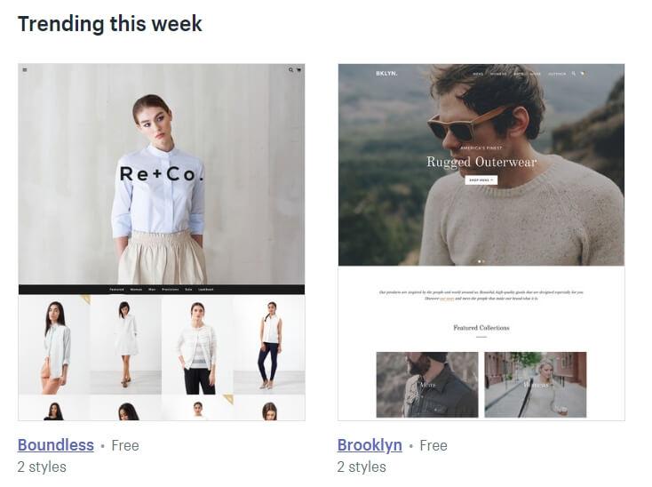 Algunos de los temas modernos de Shopify.