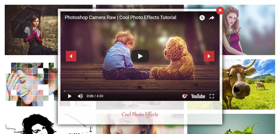 El plugin de la Galería de YouTube en acción.