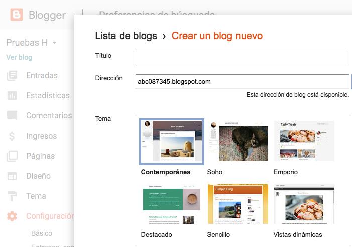 Algunos de los temas que ofrece Blogger.