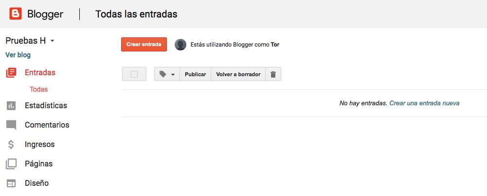 Publicando nuevas páginas de Blogger.