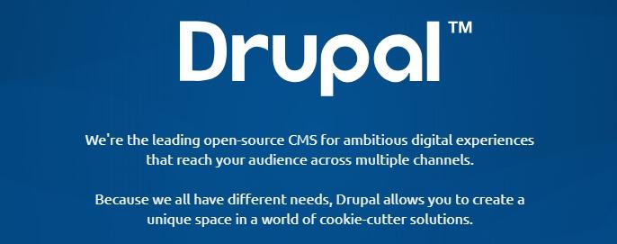 La página de inicio de Drupal.