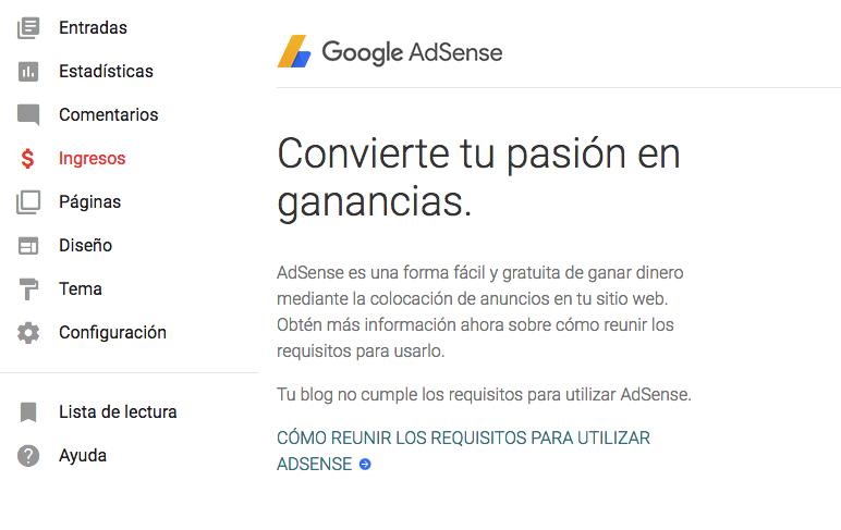 Habilitando AdSense para Blogger.