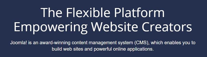 La página de inicio de Joomla.