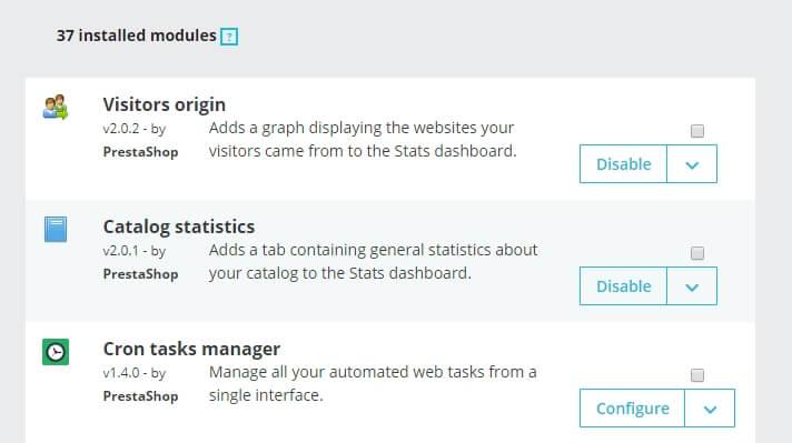 Algunos ejemplos de módulos de PrestaShop.