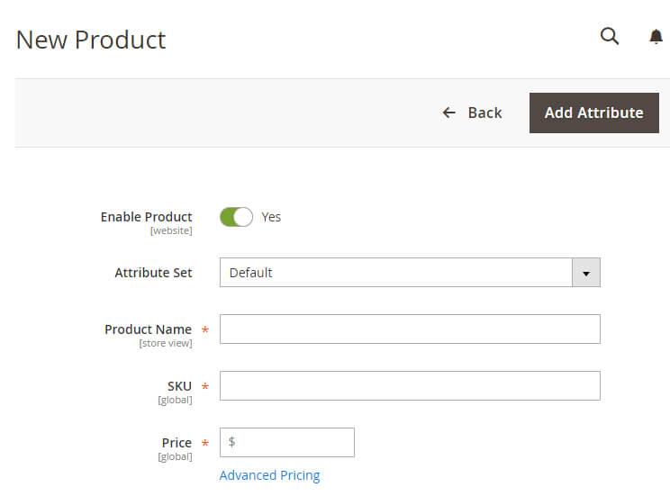 Añadiendo un nuevo producto utilizando el editor de Magento.