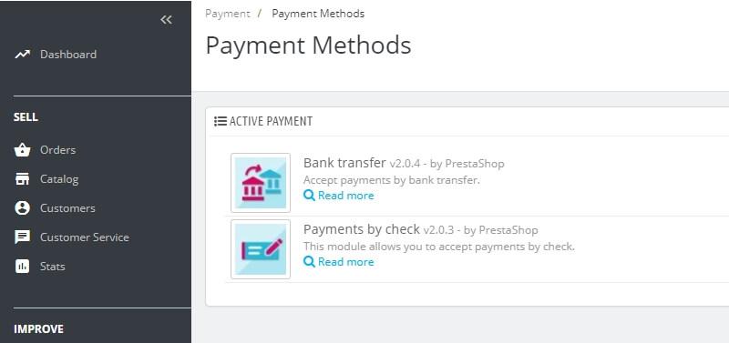 Métodos de pago por defecto de PrestaShop.