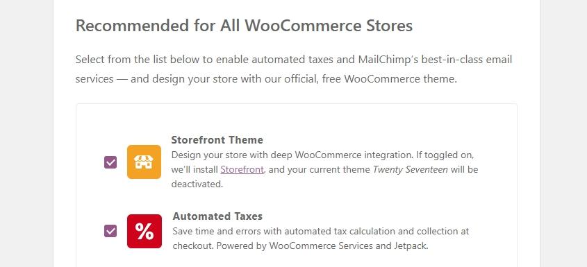 Parte del asistente de configuración de WooCommerce.