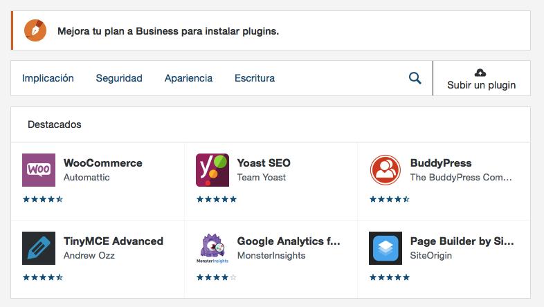 Adición de plugins a tu sitio web WordPress.com.