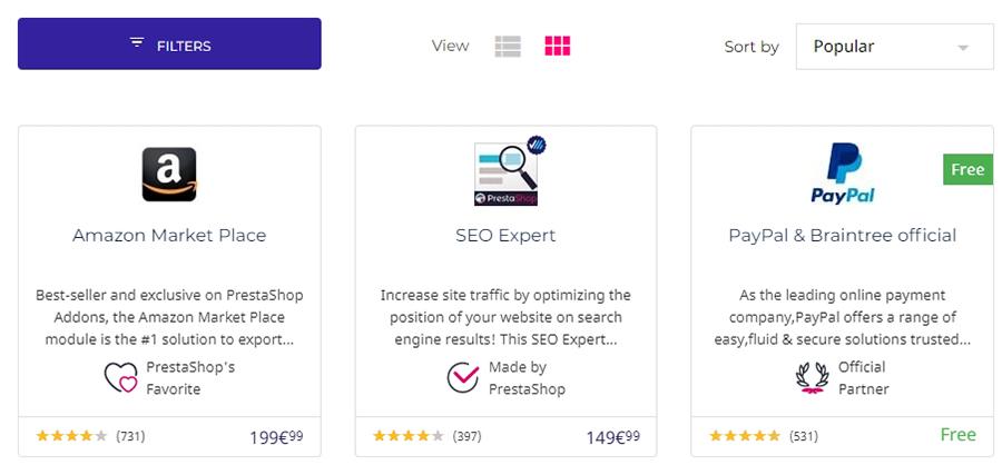 Varios ejemplos de módulos de PrestaShop.