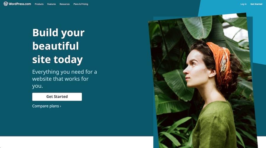 La página de inicio de WordPress.com.