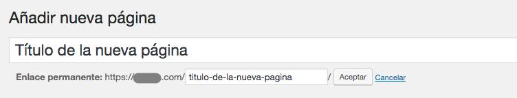 Establecer slug de página de WordPress