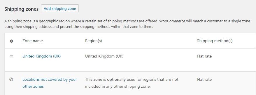 Algunos de los ajustes de envío de WooCommerce.