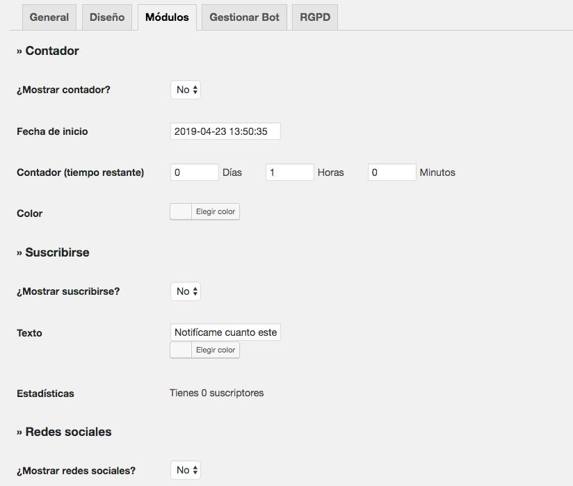 Pestaña módulos del plugin WP modo mantenimiento