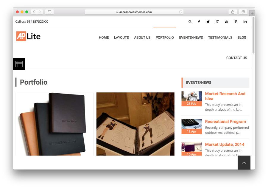 Página de portfolio de AccessPress Lite
