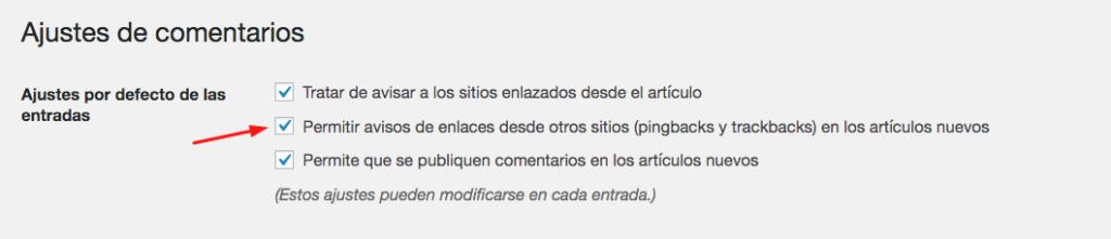 Configuración de discusión de WordPress para permitir pingbacks