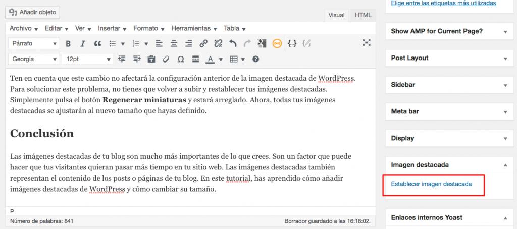Añadir imagen destacada WordPress