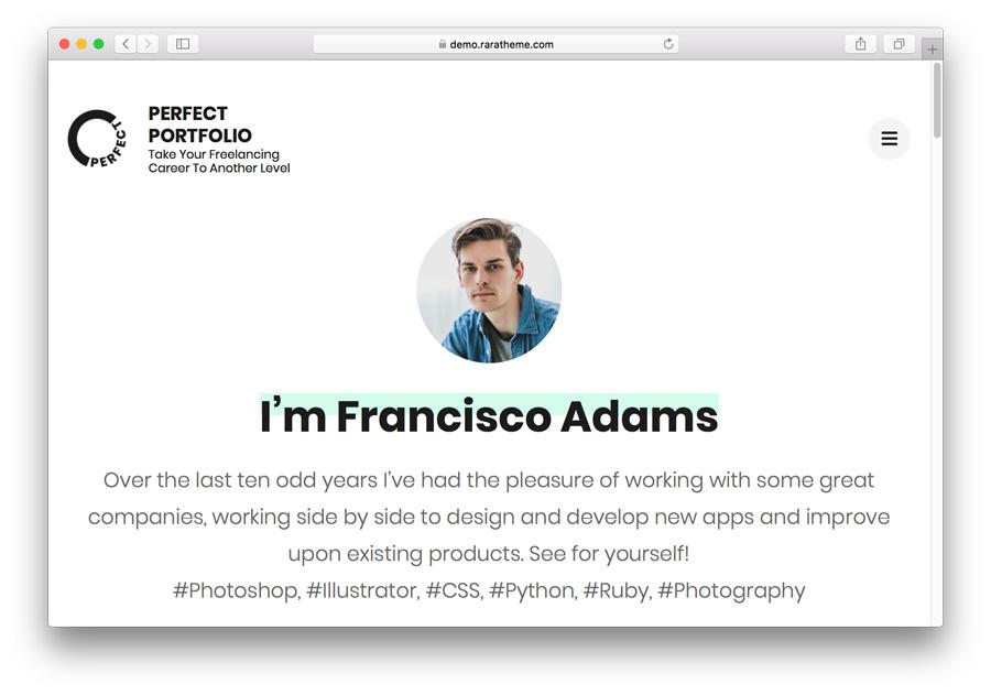 Página de inicio de Perfect portfolio