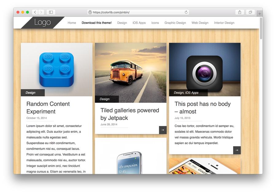 Pinbin Tema WordPress Porftolio