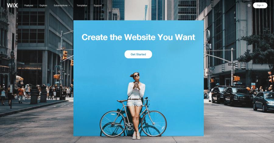 El sitio web de Wix.