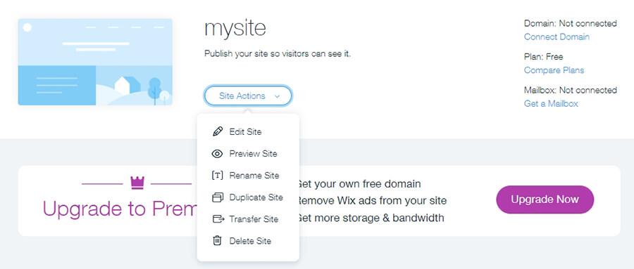 Gestionando tus sitios web de Wix.