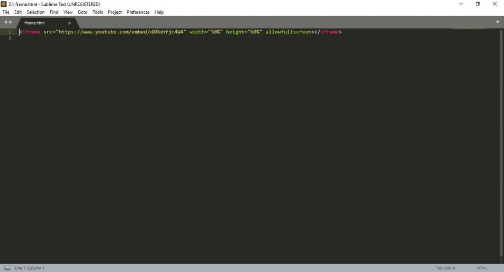Editor de HTML Sublime Text