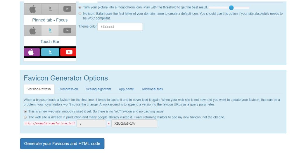 Opciones de Favicon Generator, generar un favicon WordPress.