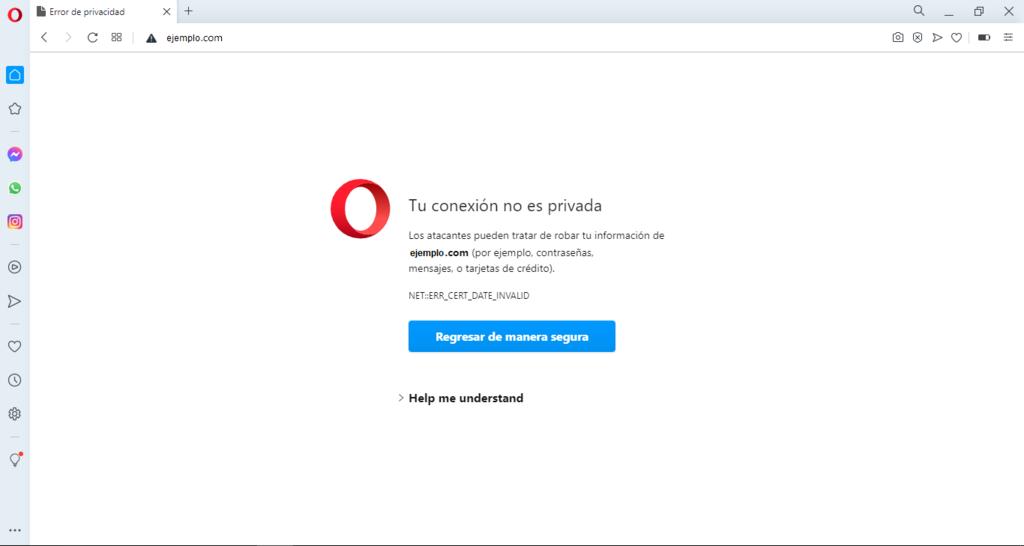 Captura de pantalla mostrando el error 'La conexión no es privada' en Opera