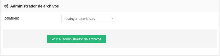 Accediendo al administrador de archivos en Hostinger