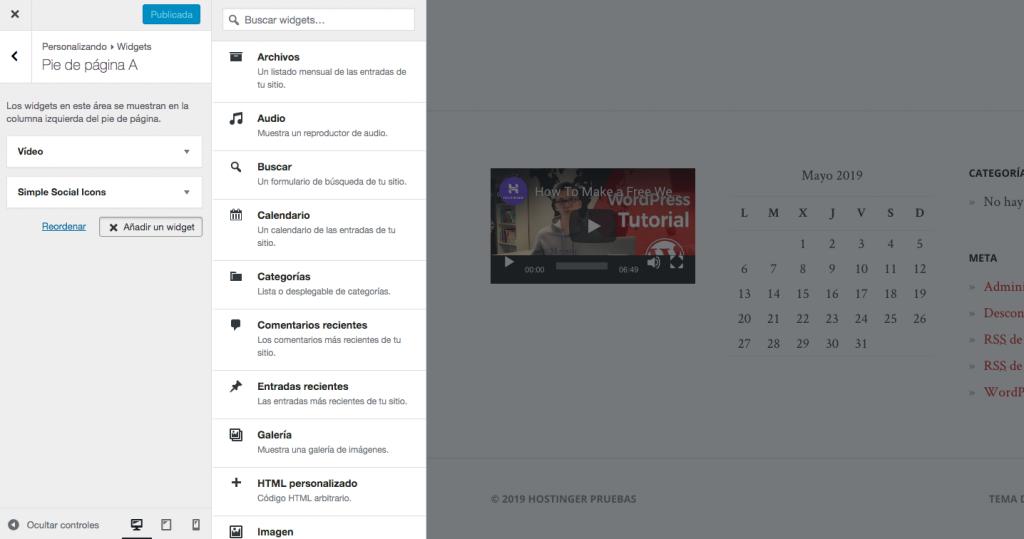 Personalizando widgets en tiempo real.