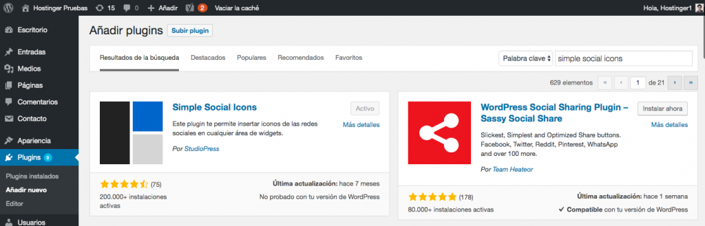 Instalar y activar el plugin Simple Social Icons.