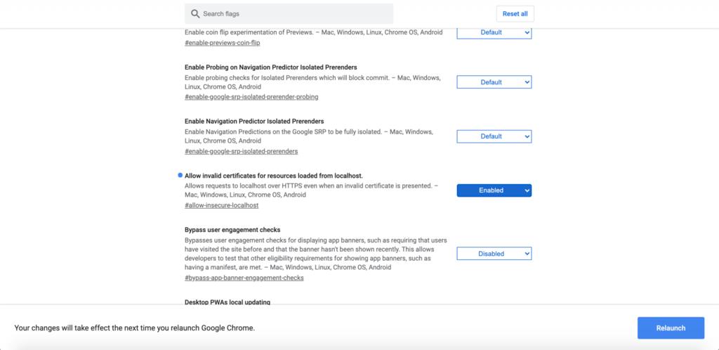 """Función """"Permitir certificados no válidos para recursos cargados desde localhost"""" habilitada en Google Chrome."""