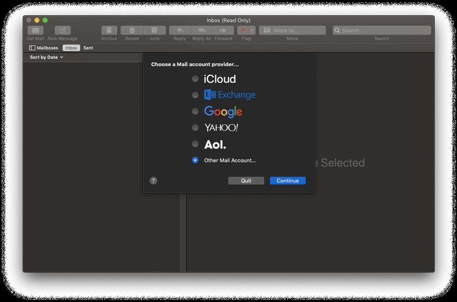 Elegir un proveedor de cuenta de correo en Mac Mail